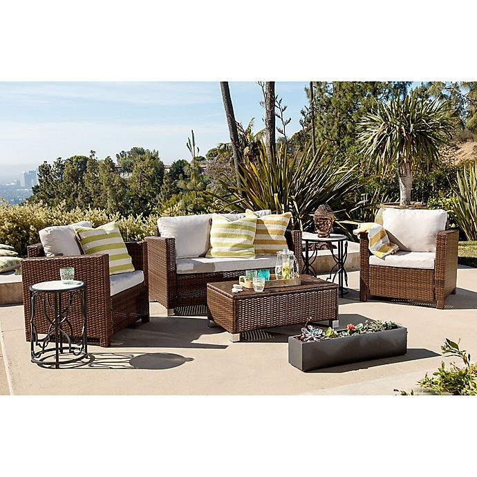 Abbyson Living® Hampton 4-Piece Outdoor Wicker Sofa Set ... on Outdoor Living Wicker id=82022