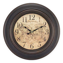 Equity 12-Inch World Map Wall Clock in Brown