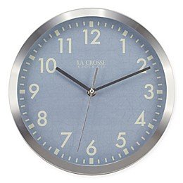 La Crosse™ Technology Metal Wall Clock with Blue Dial