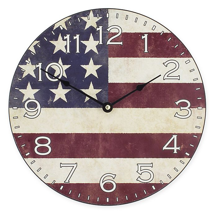 Alternate image 1 for La Crosse Technology Flag 12-Inch MDF Wall Clock in Red/White/Blue