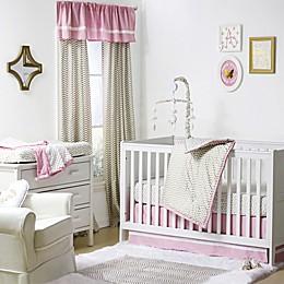 The Peanutshell™  Chevron 4-Piece Crib Set in Gold/Pink