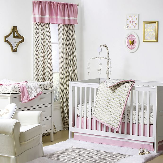 Alternate image 1 for The Peanutshell™  Chevron 4-Piece Crib Set in Gold/Pink