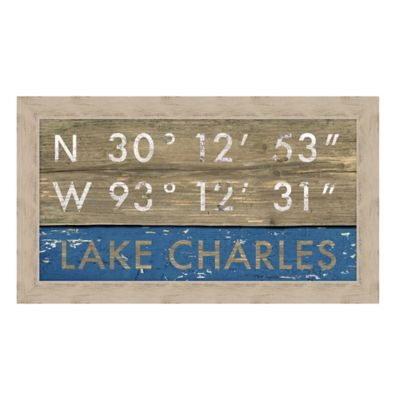 lake charles louisiana coordinates framed wall art | bed bath & beyond