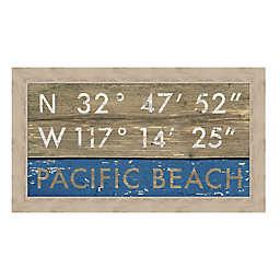 Pacific Beach, California Coordinates 28-Inch x 16-Inch Framed Wall Art