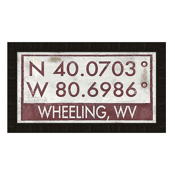 Alternate image 1 for Wheeling, West Virginia Coordinates Framed Wall Art