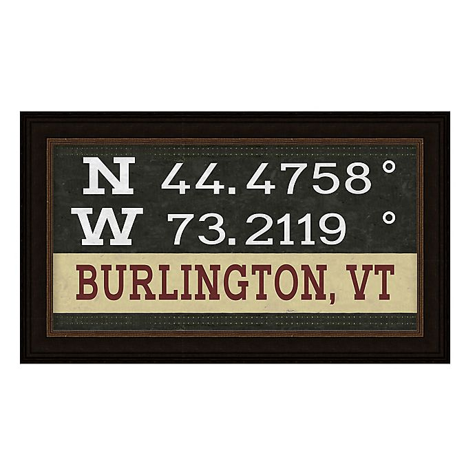 Alternate image 1 for Burlington, Vermont Coordinates Framed Giclee Wall Art