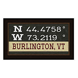 Burlington, Vermont Coordinates Framed Giclee Wall Art