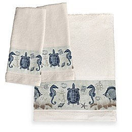Laural Home® Seaside Postcard Hand Towels in Blue (Set of 2)