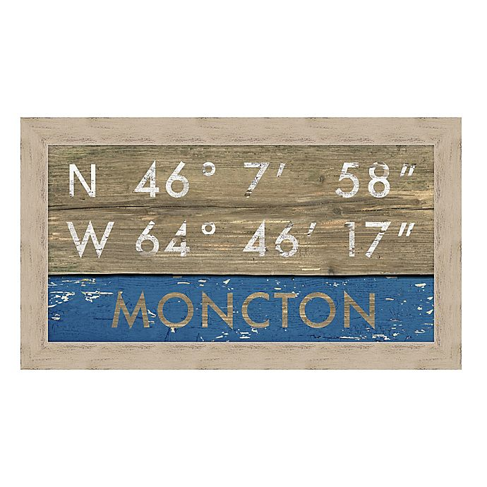Alternate image 1 for Moncton, New Brunswick Canada Coordinates Framed Giclee Print Wall Art