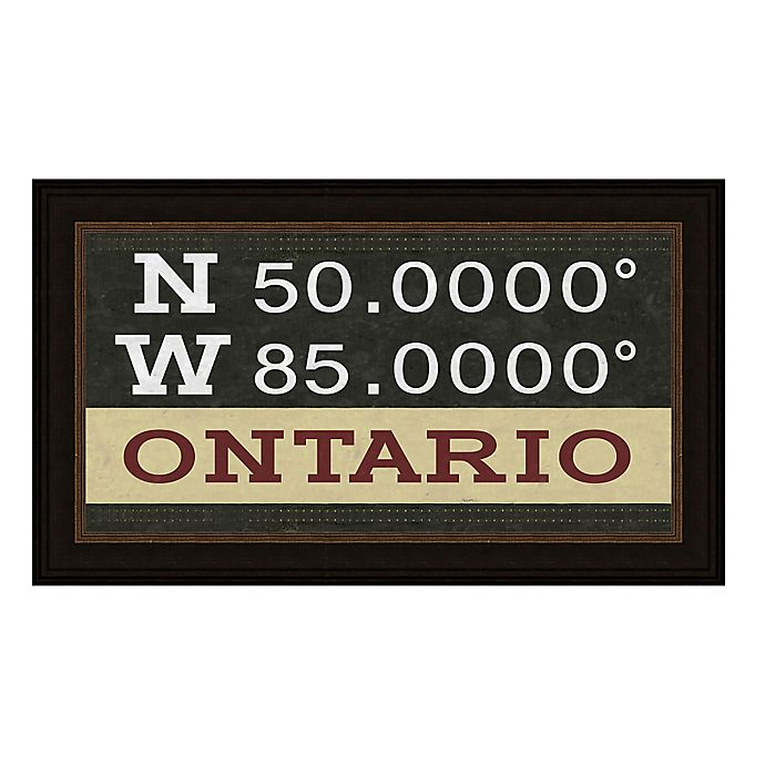 Alternate image 1 for Ontario, Canada Coordinates Framed Giclee Print Wall Art