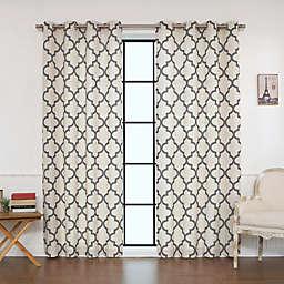 Decorinnovation Reverse Moroccan Linen Blend Grommet Top Window Curtain Panel Pair