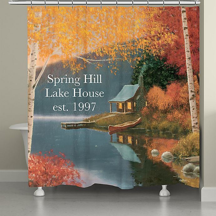 Alternate image 1 for Laural Home® Quiet Evening Shower Curtain in Blue/Orange