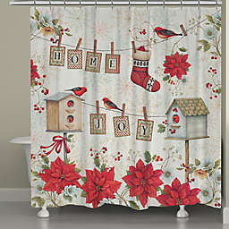 Laural Home Holiday Wings Shower Curtain in Red/White
