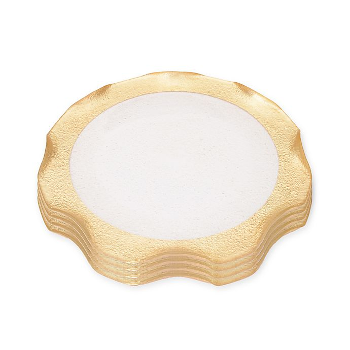 Alternate image 1 for Classic Touch Trophy Wavy Glass Plates in Gold (Set of 4)