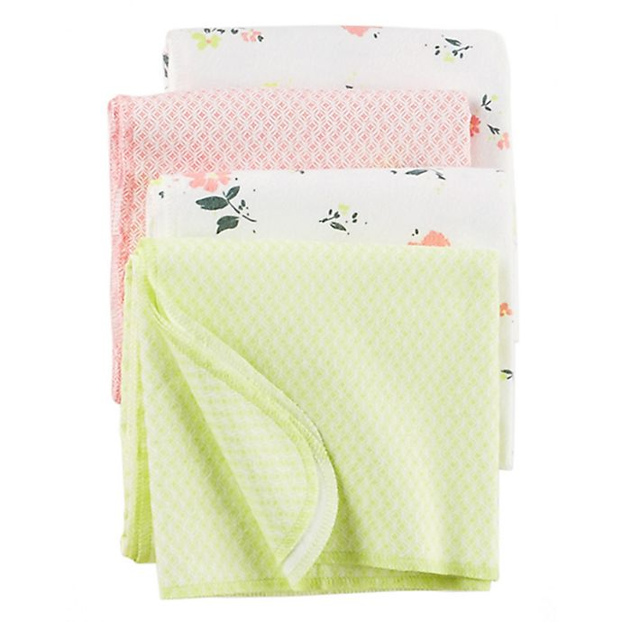 Alternate image 1 for carter's® 4-Pack Floral Flannel Receiving Blankets in Yellow/Pink