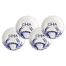 Caskata Crabs Canapé Plates in Blue (Set of 4)