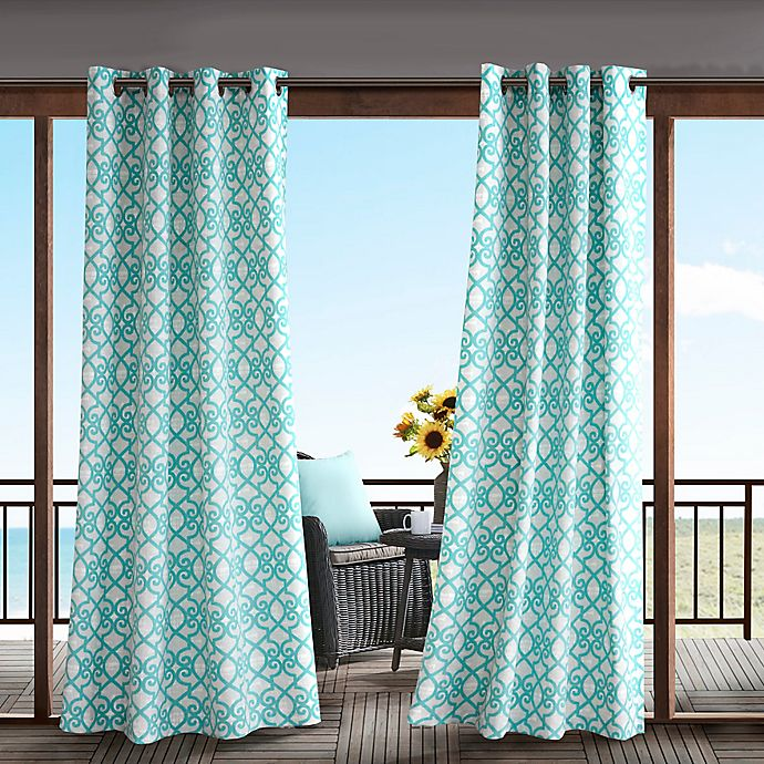 Alternate image 1 for Madison Park Daven 84-Inch 3M Scotchgard™ Grommet Top Outdoor Curtain Panel in Aqua