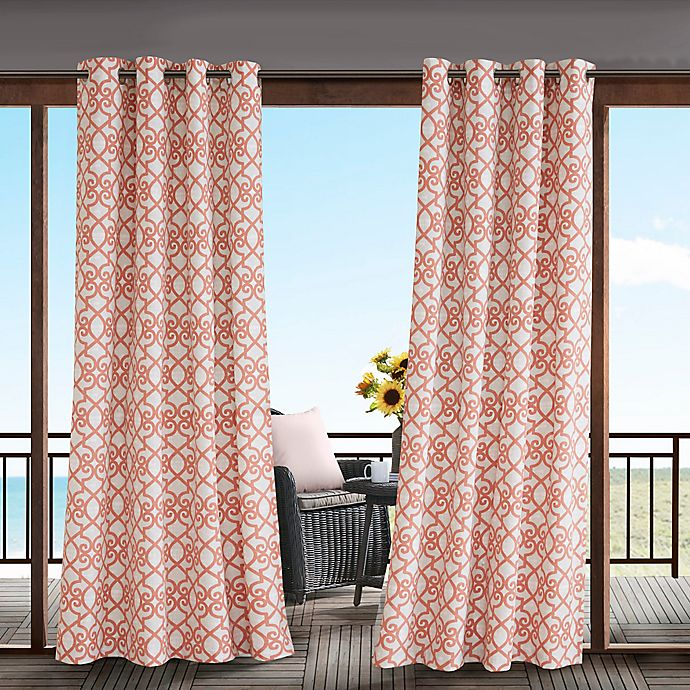 Alternate image 1 for Madison Park Daven 84-Inch 3M Scotchgard™ Grommet Top Outdoor Curtain Panel in Coral