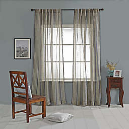 India's Heritage Linen Stripe Sheer Rod Pocket Window Curtain Panel in Natural/Navy