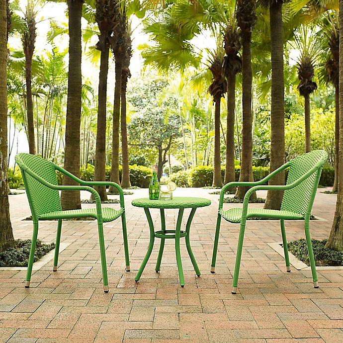 Alternate image 1 for Crosley Palm Harbor 3-Piece Wicker Patio Bistro Set in Green