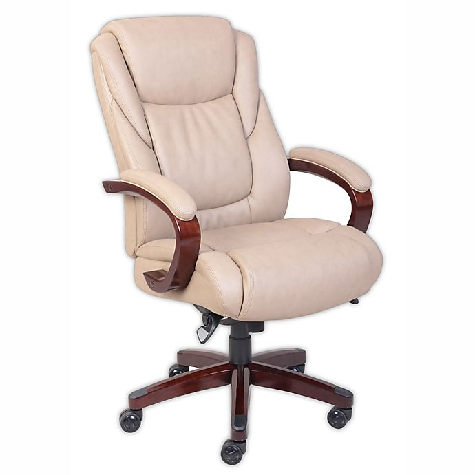 La Z Boy Miramar Comfortcore Traditions Executive Office Chair In Taupe Bed Bath Beyond