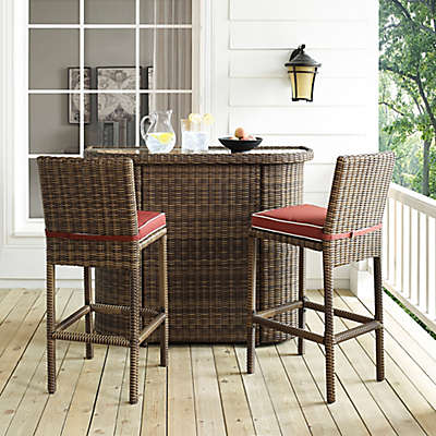 Crosley Bradenton 3-Piece Wicker Bar Set