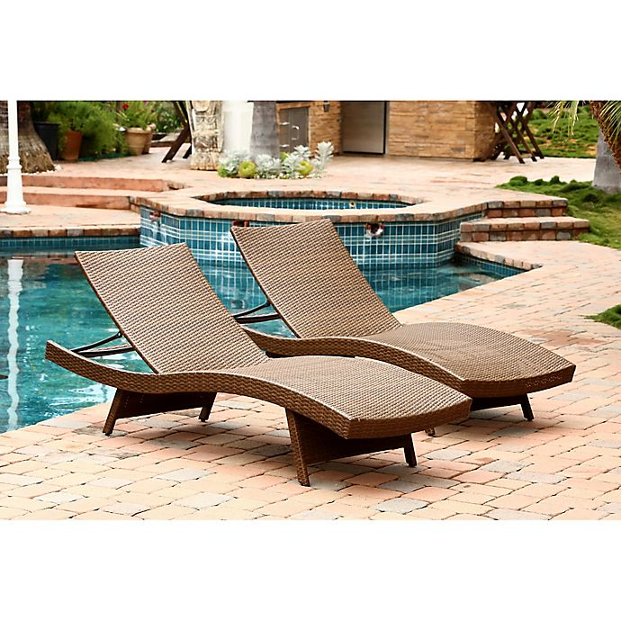 Alternate image 1 for Abbyson Living® Palermo Outdoor Wicker Chaise Lounges (Set of 2)
