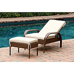 Abbyson Living® Palermo Outdoor Wicker Chaise Lounge with Ottoman in Brown