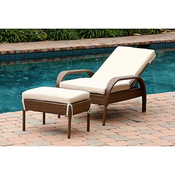 Alternate image 1 for Abbyson Living® Palermo Outdoor Wicker Chaise Lounge with Ottoman in Brown
