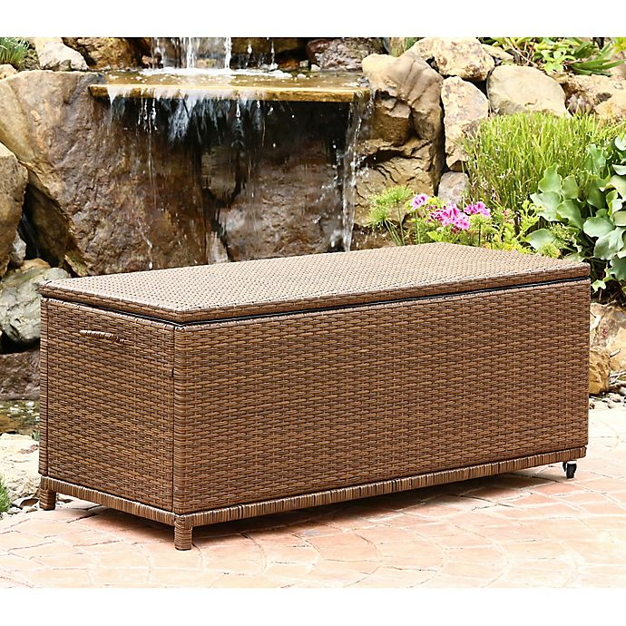 Alternate image 1 for Abbyson Living® Palermo Outdoor Wicker Storage Ottoman in Brown