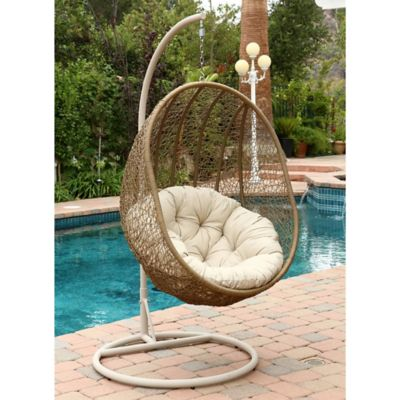 Abbyson Living Hampton Outdoor Wicker Swing Chair In Light Brown Bed Bath Beyond
