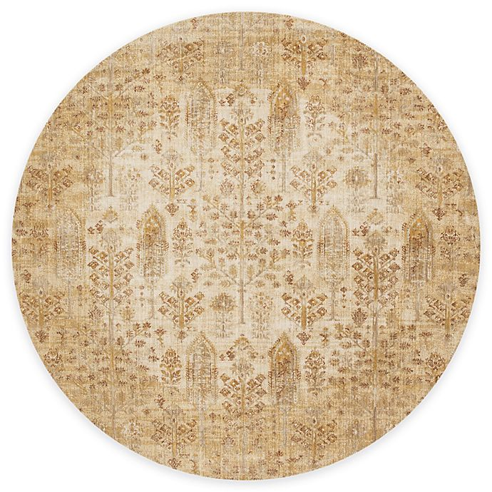 Alternate image 1 for Loloi Rugs Anastasia Leaves 9-Foot 6-Inch Round Area Rug in Ivory/Gold