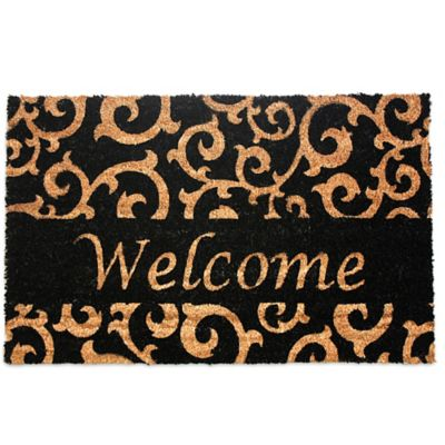 J Amp M Home Fashions 18 Inch X 30 Inch Welcome Black Scroll