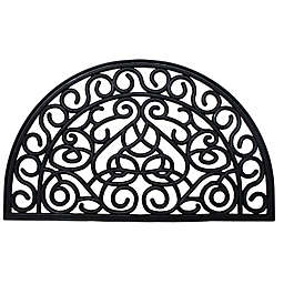 J&M Home Fashions 18-Inch x 30-Inch Iron Heart Half-Round Rubber Door Mat