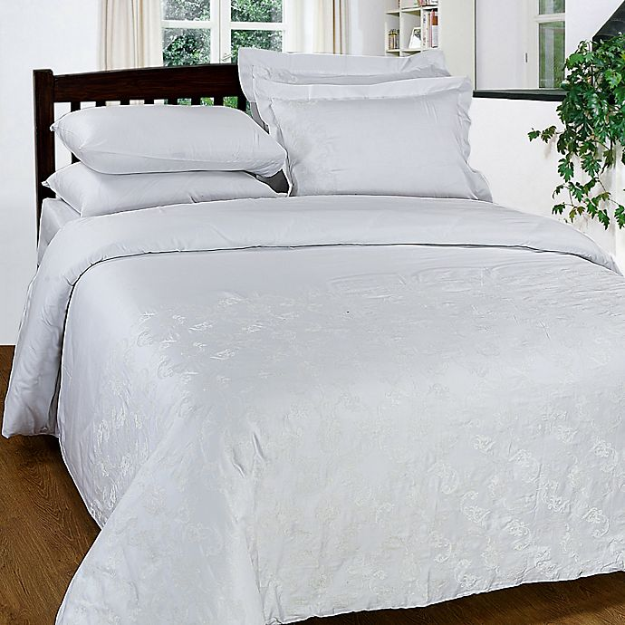 Alternate image 1 for Maspar 300-Thread-Count Embroidered Queen Duvet Cover Set in White