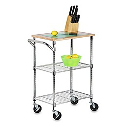 Honey-Can-Do® 2-Tier Urban Rolling Chopping Cart in Chrome