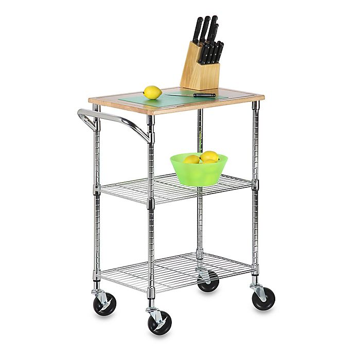 Alternate image 1 for Honey-Can-Do® 2-Tier Urban Rolling Chopping Cart in Chrome
