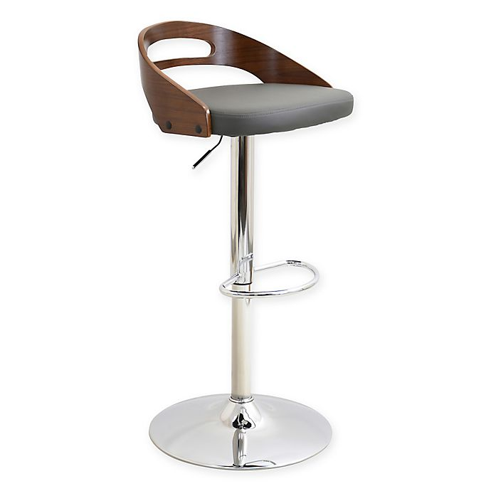 Lumisource Cassis Adjustable Height Faux Leather Bar Stool