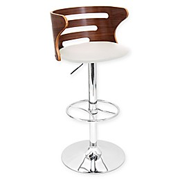 LumiSource Cosi Adjustable Height Faux Leather Bar Stool in Cream