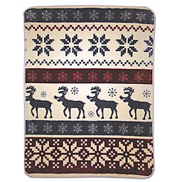 Reindeer Stripe Oversized Throw in Blue/Brown