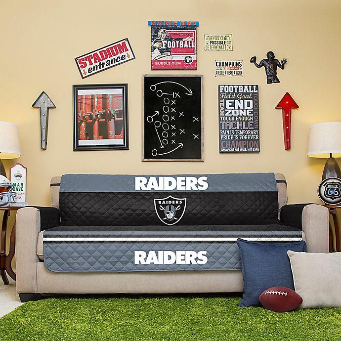 Outstanding Nfl Oakland Raiders Sofa Cover Bed Bath Beyond Machost Co Dining Chair Design Ideas Machostcouk