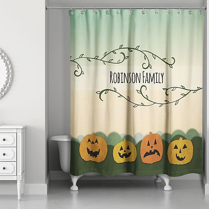 Alternate image 1 for Pumpkin Patch Friends Shower Curtain in Green/Orange