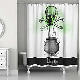 Skull and Cross Bones Shower Curtain in Black/White