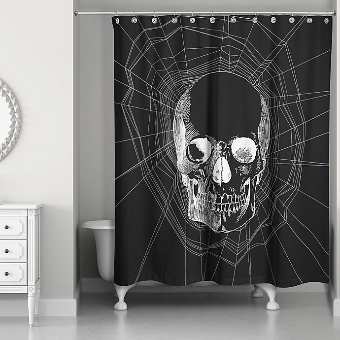 Webbed Skull Shower Curtain In Blackwhite Bed Bath Beyond