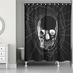 Webbed Skull Shower Curtain in Black/White