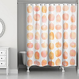 Watercolor Pumpkin Shower Curtain in Orange/White