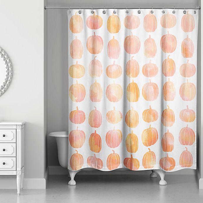 Alternate image 1 for Watercolor Pumpkin Shower Curtain in Orange/White