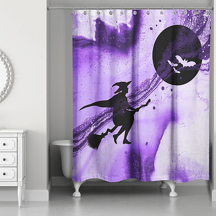 Witch Shower Curtain In Purple Black