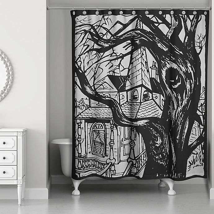 Alternate image 1 for Haunted House Shower Curtain in Black