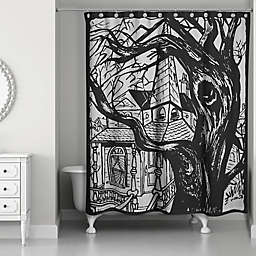 Haunted House Shower Curtain in Black
